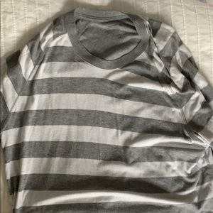Grey and white striped sweater. xL